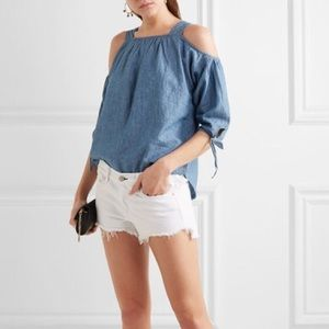 Madewell chambray cold shoulder top